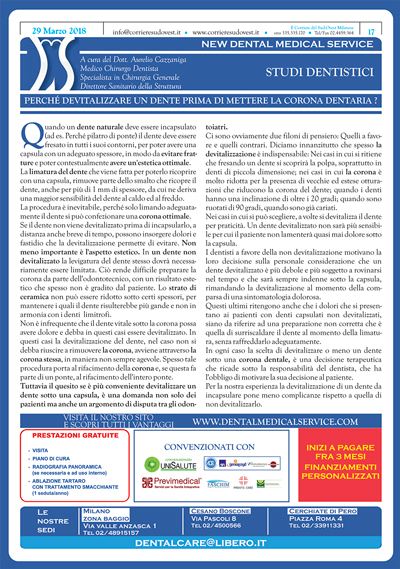 Il Corriere del Sud Ovest Milanese e New Dental Medical Service